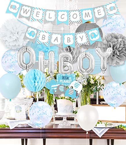 Kreatwow Decoraciones de Baby Shower Azul y Gris- Elefante Oh Boy Decoraciones de Baby Shower Bienvenido Baby Banner Centros de Mesa