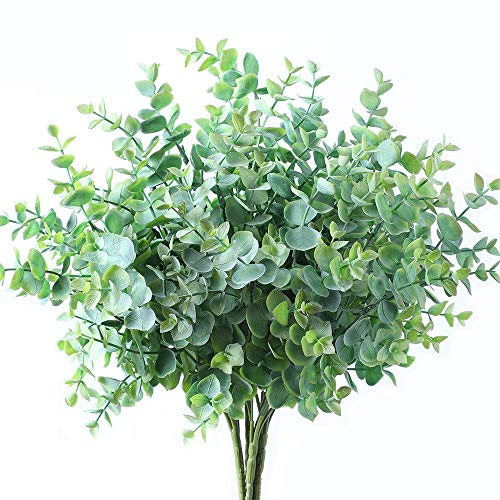 Meet Rose 6 Pcs Artificial Eucalyptus Greenery with Stems Uv Resistant Faux Eucalyptus Plant Silver Dollar Eucalyptus Branches for Jungle Theme Party Wedding Courtyard Garden Outdoor Decoration,Green