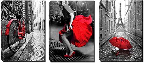 DOLUDO 3 Stück schwarz und rot Frau Leinwand Wandkunst - rotes Fahrrad Gemälde für Schlafzimmer - Eiffelturm mit roten Regenschirm Bild drucken für Wohnzimmer 30x50cmx3 (mit Rahmen)