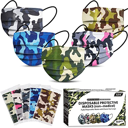 XDX Kids Face Mask Individually Wrapped, 50 Pack Disposable Face Masks With Design for Boys and Girls, 3-ply Large Size For Children' Care - 5 Camo Patterns
