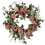 "Nearly Natural 4802 Rose Wreath, 20-Inch, Peach,15"" x 6"" x 15"""