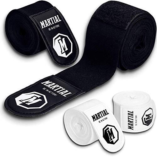 MARTIAL Boxbandagen mit bestem Klett & Daumenschlaufe. 3m/3,8m/4,5m Bandagen ohne Ausleiern für MMA, Boxen, Kickboxen & Sparring! Handgelenkbandage schwarz & weiß, optimale Schweißaufnahme und Beutel!