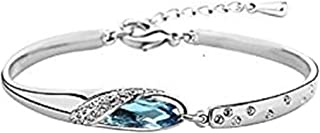 LALALNG Simple Sterling Silver Blue Rhinestone Bangle Bracelet for Women