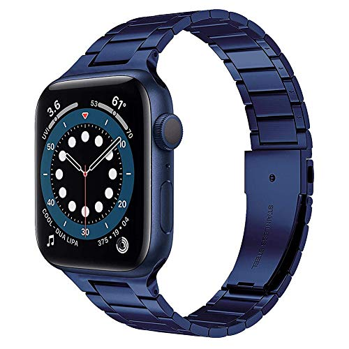 TaiWang Serie Compatible Apple Serie 6 Band Serie, [Ultra Delgada] Banda Ajustable de Acero Inoxidable para la Serie SE de Apple Watch SE 38mm 40 mm (Negro),Azul,1.6/1.7 Inches