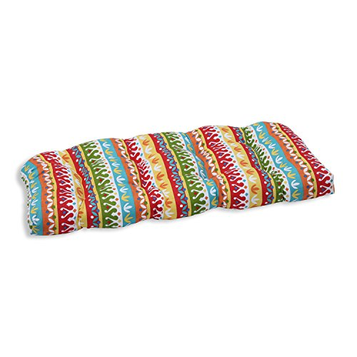 "Pillow Perfect Outdoor/Indoor Cotrell Garden Tufted Loveseat Cushion, 44"" x 19"", Multicolored"