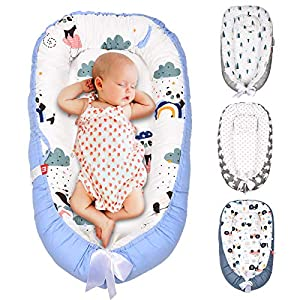 SMTTW Baby Nest, Baby Lounger Co Sleeping Bassinet for Baby Newborn Lounger 100% Soft Cotton Breathable with Baby Pillows for Sleeping, Portable Bassinet as Baby Shower Gifts (Panda)