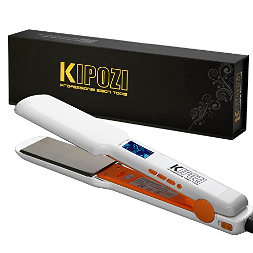 """KIPOZI Pro Nano Titanium Flat Iron Hair Straightener with Digital LCD Display,Instant Heat Up,High Heat 450 Degrees,Dual Voltage,1.75"""" Wide Plate(White)"""