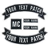 Brillianne Benutzerdefinierte Weste Biker Patch, personalisierte Text Rocker Name Patch für Club, Motorrad, Taschen Jacken Kleidung (White on Black)