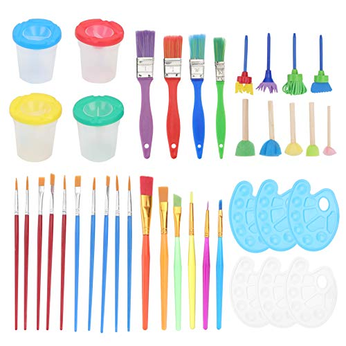 TOYMYTOY Juego de Herramientas para Pintar Pinceles para Niños con Tazas de Pintura Bandeja de Paleta para Pintar Arte DIY Palets para Niños Cumpleaños Premios Escolares de Fiesta de Arte