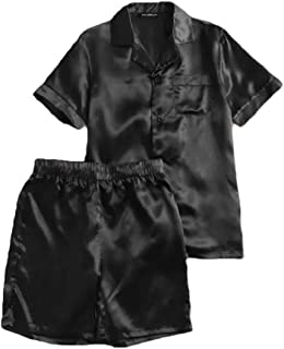 qianqianq Mens Summer Tops-with-Shorts Satin Button Front Pure Color Sleep Set