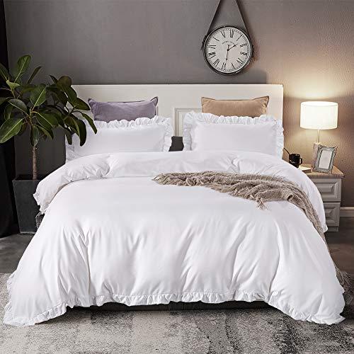 HYPREST White Ruffled Duvet Cover Twin - Microfiber Soft Lightweight Twin Duvet Cover Bedding Set (Not Including Comforter)