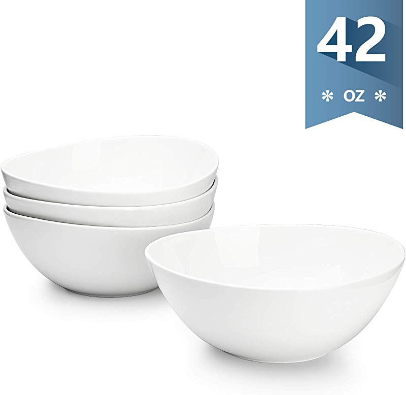 Sweese 104 101 Porcelain Bowls 42 Ounce For Cereal Salad And Popcorn Set Of 4 White