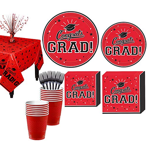 Party City Congrats Grad Red 2019 Graduation Decorations and Supplies for 18 Guests with Plates, Napkins and More