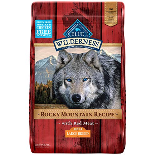 Blue Buffalo Wilderness Rocky Mountain Recipe High Protein Grain Free Natural Adult Large Breed Dry Dog Food, Red Meat 22-lb