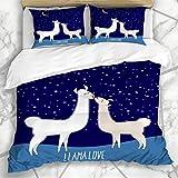 Conjuntos de Fundas nórdicas Divertido Marrón Chile Llama Alpaca Dos Besos Lindos Wildlife Lama America Color Pareja Amor Ropa de Cama de Microfibra con 2 Fundas de Almohada