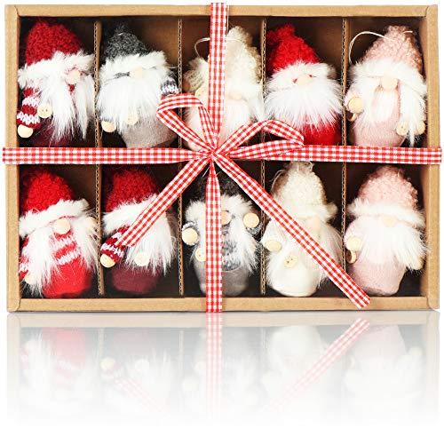 com-four® 10x Premium Weihnachtsmann-Anhänger für den Weihnachtsbaum, Verschiedene Christbaum-Figuren Anhänger als Baumbehang, Weihnachtsschmuck oder Geschenk-Anhänger