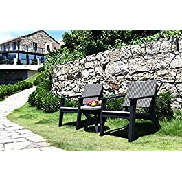 Centurion Supports REDRIDGE Salon de jardin 3 pièces en rotin avec fauteuil incliné et table d'appoint Noir/gris