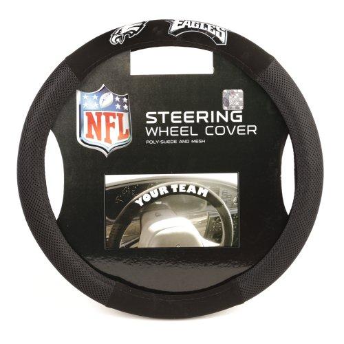 Fremont Die NFL Philadelphia Eagles Poly-Suede Steering Wheel Cover, Fits Most Standard Size Steering Wheels, Black/Team Colors