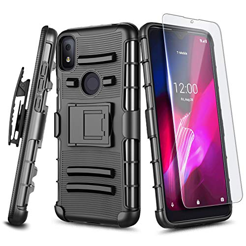 E-Began T-Mobile REVVL 4 Case with Tempered Glass Screen Protector, Belt Clip Holster, Kickstand Heavy Duty Armor Defender Shockproof Rugged Phone Case -Black