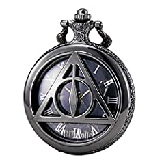1.UNIQUE DESIGN - Hollow Movie Theme Triangle Design, Brass antique case, Japanese quartz movement inside; dial with roman numerals scale on the Harry Potter Deathly Hallows Lord Voldemort background, easy to read the time, it's a practical item func...