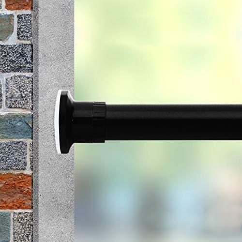 Vailge Teleskopstange Gardinenstange Vorhangstange ohne Bohren, Verstellbare Teleskopstange Klemmstange durch Drehen Verstellbar, Nutzbar als Kleiderstange, Duschvorhangstange(Schwarz,210-310cm)