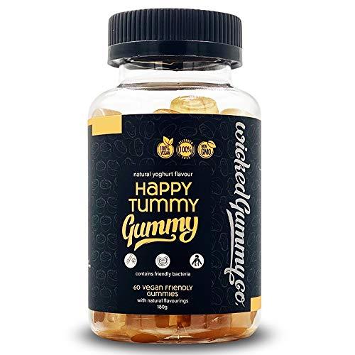 Wicked Gummy Co. Happy Tummy Gummy | Natural Yoghurt Flavour Chewable Vitamin Gummies | Vegetarian & Vegan | With Healthy Bacteria, Probiotics/Prebiotic & 2 Billion Live Cultures (60 Gummy Vitamins)