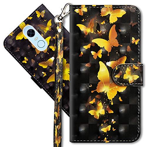 MRSTER Funda para Xiaomi Redmi 5 Plus, 3D Brillos Carcasa Libro Flip Case Antigolpes Cartera PU Cuero Funda con Soporte para Xiaomi Redmi 5 Plus. YX 3D Golden Butterfly