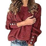 Las Mujeres Otoño Invierno De Punto Jerseys O-Cuello del Botón De Manga Larga Tops Decoración Suéter Casual De Las Señoras del Puente Más El Tamaño S-5XL (Color : Wine Red Sweater, Size : L.)