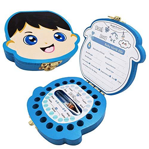 Boîte à Dents de Lait pour Bébé Dents,Boîte à dents pour enfants, boîte de rangement en bois, Boîte à Souvenirs,Cadeau Naissance Baptême Anniversaire pour Enfant Fille Garçon (Garçon)