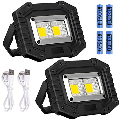 Lyneun luce di Sicurezza Lavoro USB Ricaricabile, Portatile Faro led 30W Lampade Emergenza con 4 Batteria Impermeabile Faretti Lampada da Cantiere per Cortile, Garage, Pesca (2 pezzi)