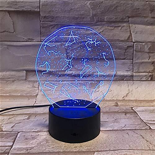 Constellation 3D Light Night Light LED Multicolor Flash Fading Holiday Christmas Gift Lámpara de cabecera Regalo para fanáticos del anime
