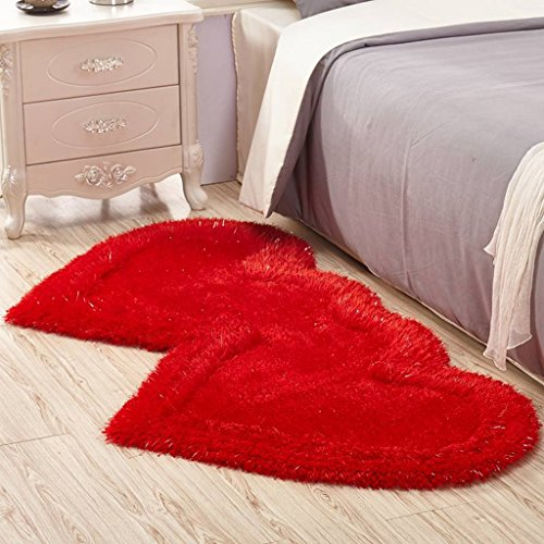 Good thing Teppich Doppel herzförmige Strecke Garn Teppich Wohnzimmer Schlafzimmer Dicker rutschfestes Teppichgeschäft für Hochzeitszimmer Nacht Decke (Farbe : A, größe : 70 * 140CM)