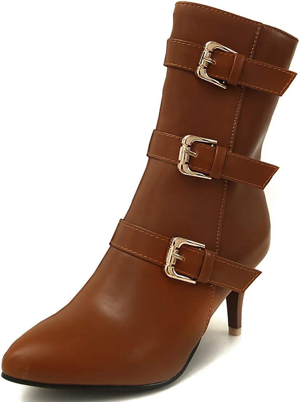 IDIFU Women's Retro Three Buckle and Side Zipper Pointed Toe Mid Kitten Heel Mid Calf Boots