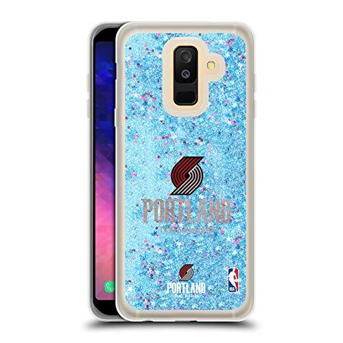 Officiële NBA Verschrikt Portland Trail Blazers 2 Lichtblauw Clear Hybrid Vloeibare Glitter Compatibel voor Samsung Galaxy A6 Plus (2018)