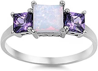 Oxford Diamond Co New Princess Cut White Australian Opal & Simulated Amethyst .925 Sterling Silver Ring Sizes 4-11