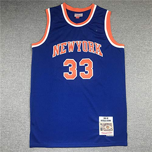 Baloncesto para Hombre NBA Nueva York Knicks # 33 Patrick Ewing Jersey, Baloncesto Transpirable Cuello Redondo Jersey Fans T-Shirt,Azul,S(165~170cm)