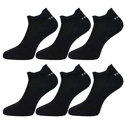 Tisoks 6 Pairs Black Mens and Womens Titanium Anti Odor Sports Ankle Socks for Athletes Feet