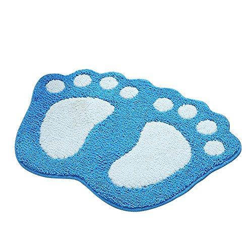 Shanna - Alfombrilla de baño antideslizante, para baño o ducha, alfombra de suelo absorbente, para sala de estar, sofá, cojín, caucho, azul, 40 x 60 cm