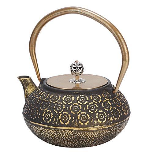 Tetera de té, patrón exquisito Hogar Mini Tetera de hierro vintage Tetera de té Tetera de hierro fundido Tetera de té 1.2L