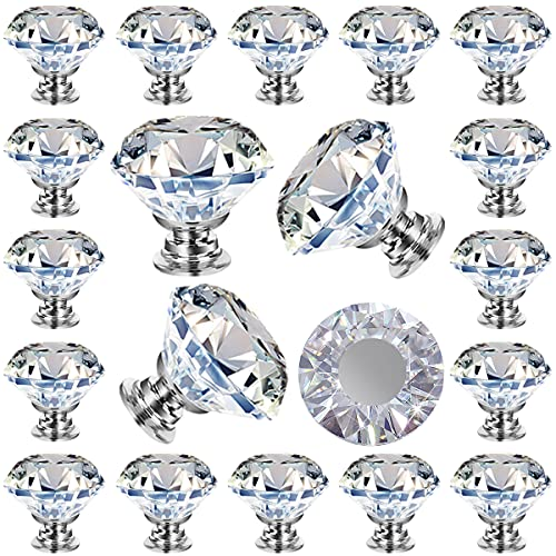 25 Pack Cabinet Knobs Drawer Knobs, Knobs Crystal Dresser Pulls - Clear 30mm Diamond Knobs , for Dresser Drawers Kitchen Bathrom Cabint, Drawer and Dresser by GoodtoU