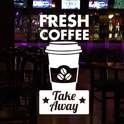 sanzangtang Kaffeestube Zeichen Fenster Tür Applique frischen Kaffee und zum Mitnehmen Vinyl Aufkleber Geschäft Shop Dekoration beweglichen Wandbild 100.8X201.6cm