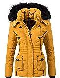 Marikoo Damen Winter Jacke Steppjacke Vanilla Gelb...