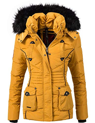 Marikoo Damen Winter Jacke Steppjacke Vanilla Gelb Gr. XS