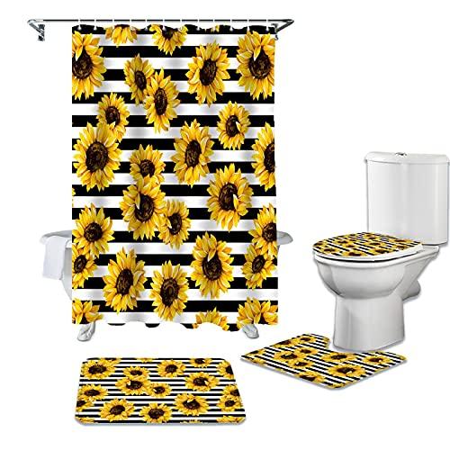 ZHEXI Cortina de baño Impermeable con Rayas Blancas y Negras de Girasol, Juego de Cortinas de Ducha duraderas, alfombras, Cubierta de Tapa de Inodoro, Alfombrilla de baño
