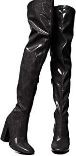Women's Fluorescent Thigh-high Boots, High Chunky Heel Round Toe Glitter Dress Over-The-Knee Boots