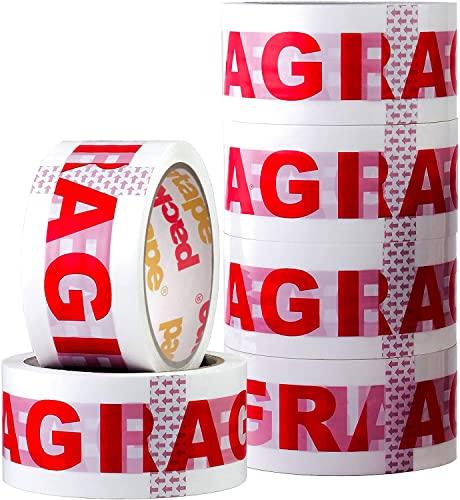 Packatape 6 Rollos Cinta Embalar Adhesiva Fragile 48MMx 66M para Cajas y Paquetes Ideal para Envíos y Mudanzas – Precinto Embalar Extrafuerte y Resistente – Color Blanco con Impresión Fragile