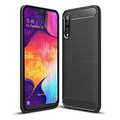 Hianjoo Coque Compatible pour Samsung Galaxy A50, Noir Silicone Housse Etui Anti-Rayures Fibre de Carbone Coque de Protection Compatible pour Samsung Galaxy A50, Noir