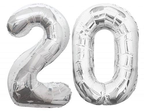Ballon en aluminium avec chiffre 20 Argenté Taille XXL 86 cm Pour 20e anniversaire