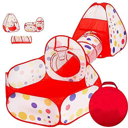 Casa de Campaña para Niños, Tienda Infantil de Tela, E T EASYTAO 3 en 1 Zona de Juegos para Bolas Infantil, Piscina de Bolas y Casita Infantil y Tunel de Juego, Plegable Parque Bebé, Bolas no Incluidas (Rojo)