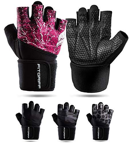 Fitgriff® Fitness Handschuhe V2, Trainingshandschuhe, Sporthandschuhe für Damen und Herren, Krafttraining, Kraftsport, Training, Sport, Gym, Workout Gloves (Pink, 6)